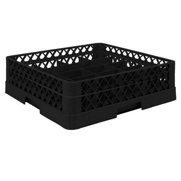 "Vollrath TR6A Traex® Full-Size Black 25-Compartment 4 13/16"" Glass Rack with Open Rack Extender On Top"