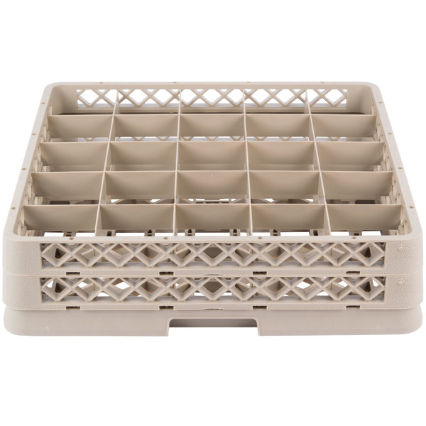 """Vollrath TR13BB Traex® Low Profile Full-Size Beige 25-Compartment 3 9/16"""" Glass Rack with 2 Extenders Main Image 1"""