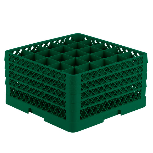 """Vollrath TR6BBBB Traex® Full-Size Green 25-Compartment 9 7/16"""" Glass Rack Main Image 1"""