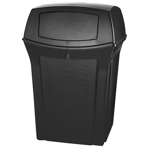 Rubbermaid FG917188BLA Ranger Black Container with 2 Doors 45 Gallon Main Image 1