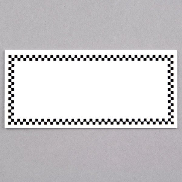 Rectangular Write On Deli Tag with Black Checkered Border - 25/Pack