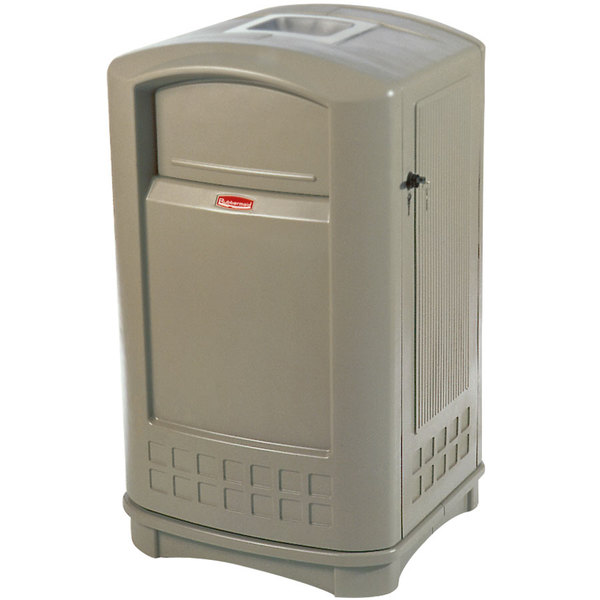 Rubbermaid FG396500BEIG Plaza Beige Container with Side Opening Door and Ashtray Top 50 Gallon Main Image 1