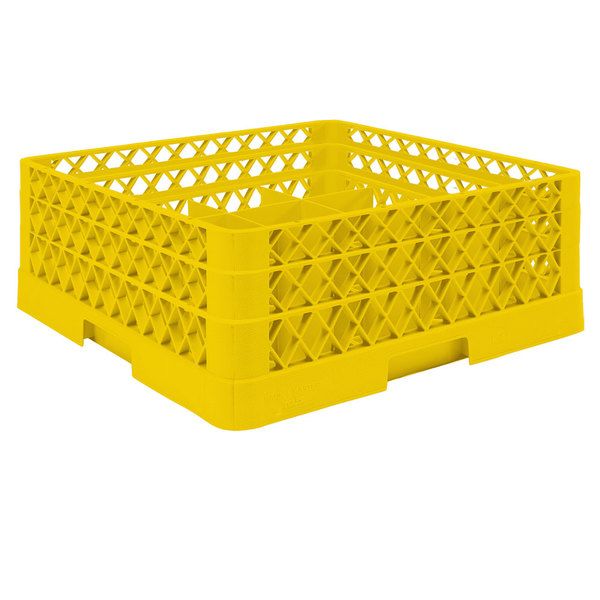 """Vollrath TR6BA Traex® Full-Size Yellow 25-Compartment 6 3/8"""" Glass Rack with Open Rack Extender On Top Main Image 1"""