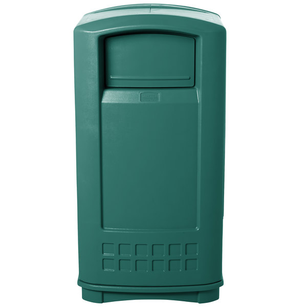 Rubbermaid FG9P9000GRN Plaza Dark Green Junior Container Side Opening Door 35 Gallon Main Image 1