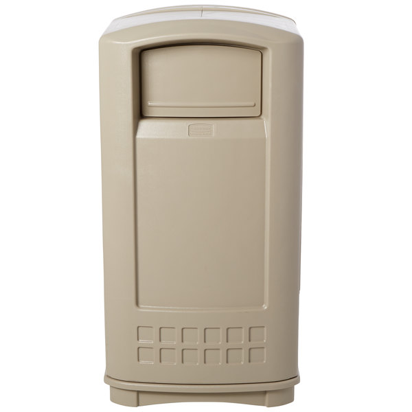 Rubbermaid FG9P9000BEIG Plaza Beige Junior Container with Side Opening Door 35 Gallon Main Image 1