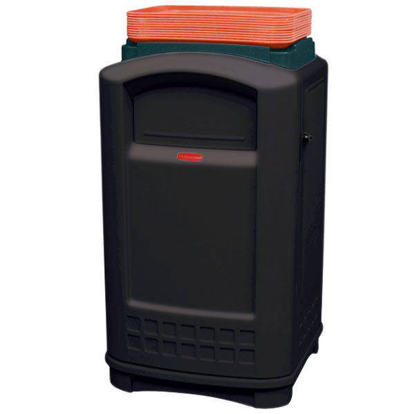 Rubbermaid FG396300BLA Plaza Black Container with Side Opening Door and Tray Top 50 Gallon Main Image 1