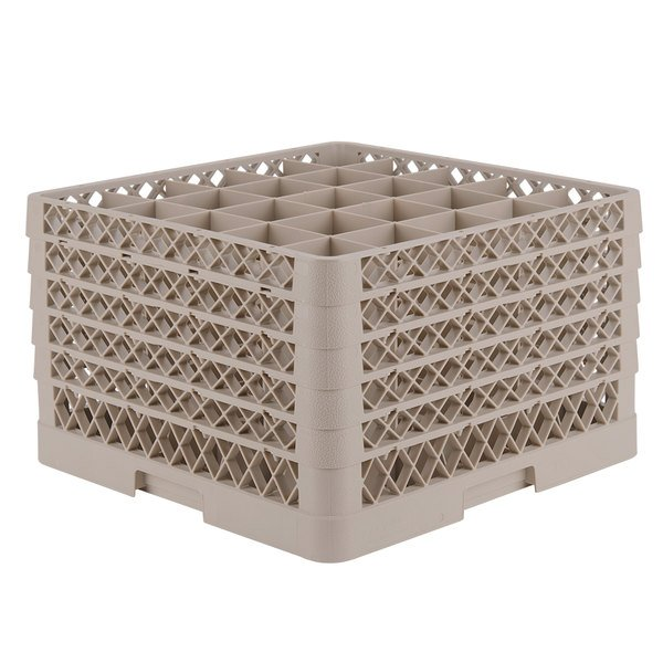 "Vollrath TR6BBBBB Traex® Full-Size Beige 25-Compartment 11"" Glass Rack Main Image 1"