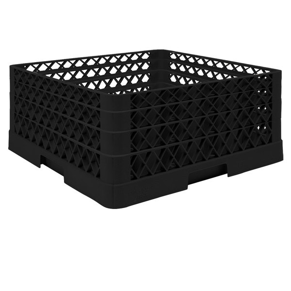 """Vollrath TR6BBA Traex® Full-Size Black 25-Compartment 7 7/8"""" Glass Rack with Open Rack Extender On Top"""