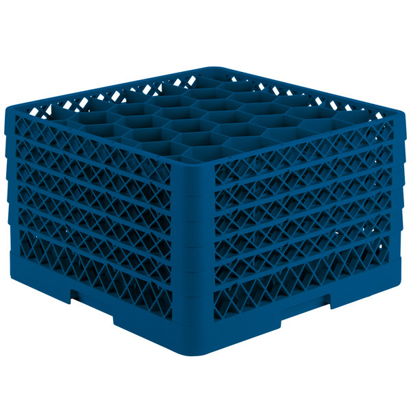 """Vollrath TR12HHHHA Traex® Rack Max Full-Size Royal Blue 30-Compartment 11 7/8"""" Glass Rack with Open Rack Extender On Top Main Image 1"""