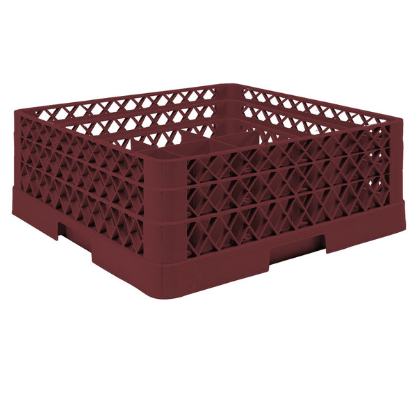 """Vollrath TR6BA Traex® Full-Size Burgundy 25-Compartment 6 3/8"""" Glass Rack with Open Rack Extender On Top Main Image 1"""
