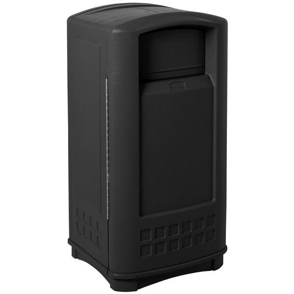 Rubbermaid FG9P9000BLA Plaza Black Junior Container Side Opening Door 35 Gallon