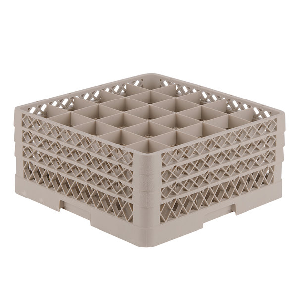 """Vollrath TR6BBB Traex® Full-Size Beige 25-Compartment 7 7/8"""" Glass Rack"""