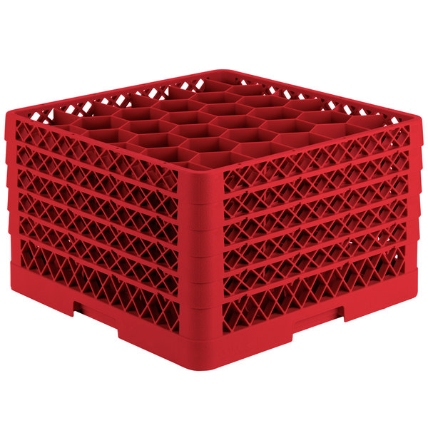 """Vollrath TR12HHHHA Traex® Rack Max Full-Size Red 30-Compartment 11 7/8"""" Glass Rack with Open Rack Extender On Top Main Image 1"""