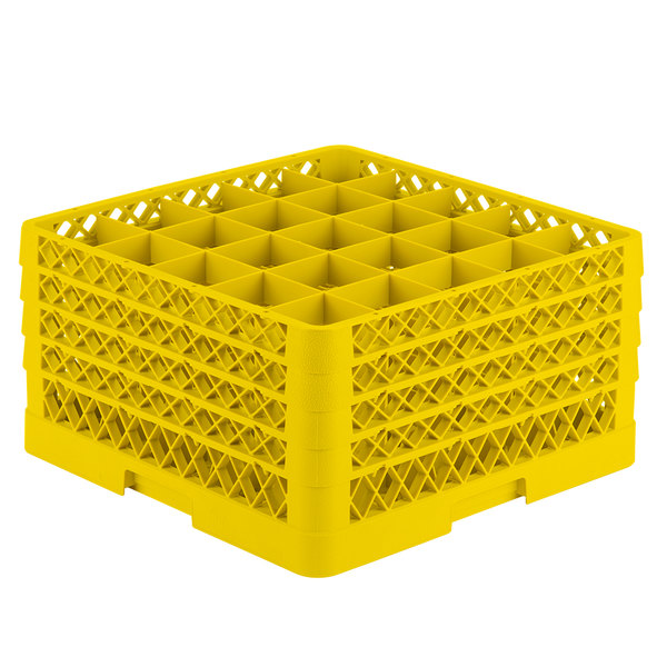 """Vollrath TR6BBBB Traex® Full-Size Yellow 25-Compartment 9 7/16"""" Glass Rack Main Image 1"""