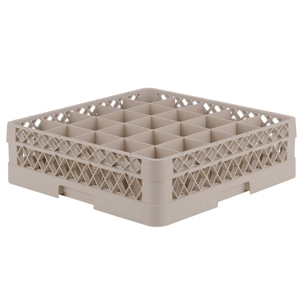 "Vollrath TR6B Traex® Full-Size Beige 25-Compartment 4 13/16"" Glass Rack"