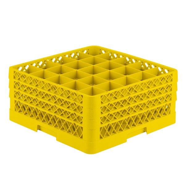 """Vollrath TR6BBB Traex® Full-Size Yellow 25-Compartment 7 7/8"""" Glass Rack Main Image 1"""