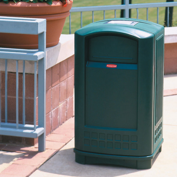 Rubbermaid FG396500GRN Plaza Dark Green Container with Side Opening Door and Ashtray Top 50 Gallon