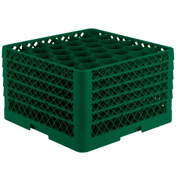 "Vollrath TR12HHHHH Traex® Rack Max Full-Size Green 30-Compartment 11 7/8"" Glass Rack"
