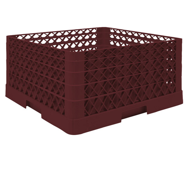 """Vollrath TR6BBBA Traex® Full-Size Burgundy 25-Compartment 9 7/16"""" Glass Rack with Open Rack Extender On Top"""