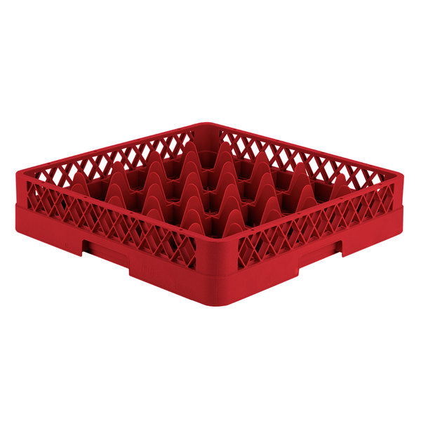 """Vollrath TR6 Traex® Full-Size Red 25-Compartment 3 1/4"""" Glass Rack"""