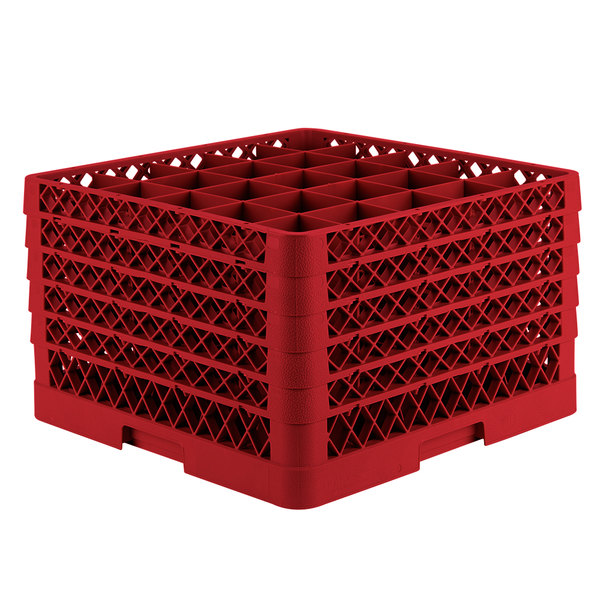 "Vollrath TR6BBBBA Traex® Full-Size Red 25-Compartment 11"" Glass Rack with Open Rack Extender On Top"