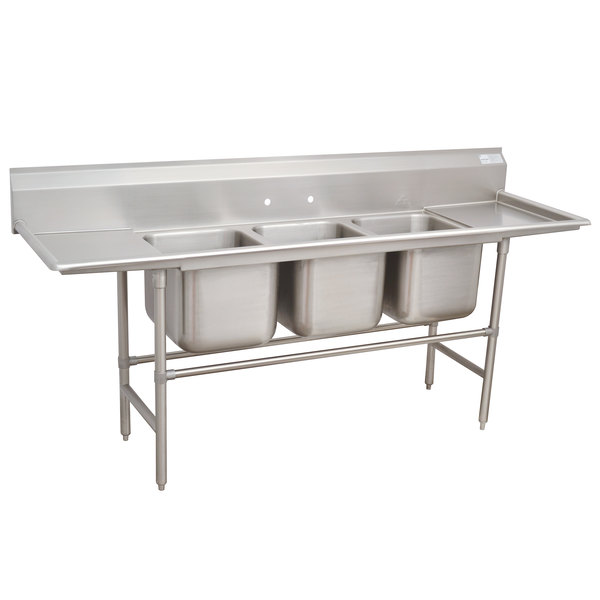 """Advance Tabco 94-23-60-36RL Spec Line Three Compartment Pot Sink with Two Drainboards - 139"""""""