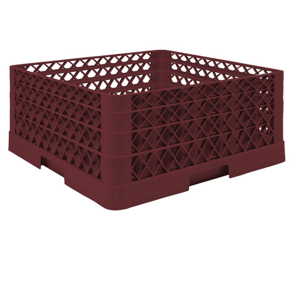 """Vollrath TR6BBA Traex® Full-Size Burgundy 25-Compartment 7 7/8"""" Glass Rack with Open Rack Extender On Top"""