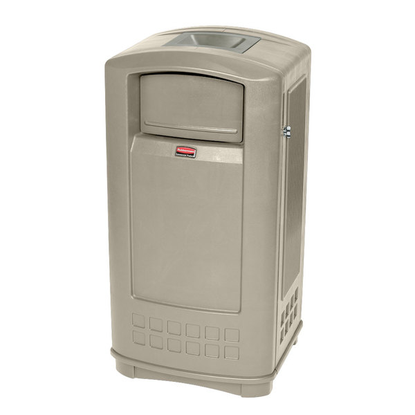 Rubbermaid FG9P9100BEIG Plaza Beige Junior Container with Side Opening Door and Ashtray Top 35 Gallon
