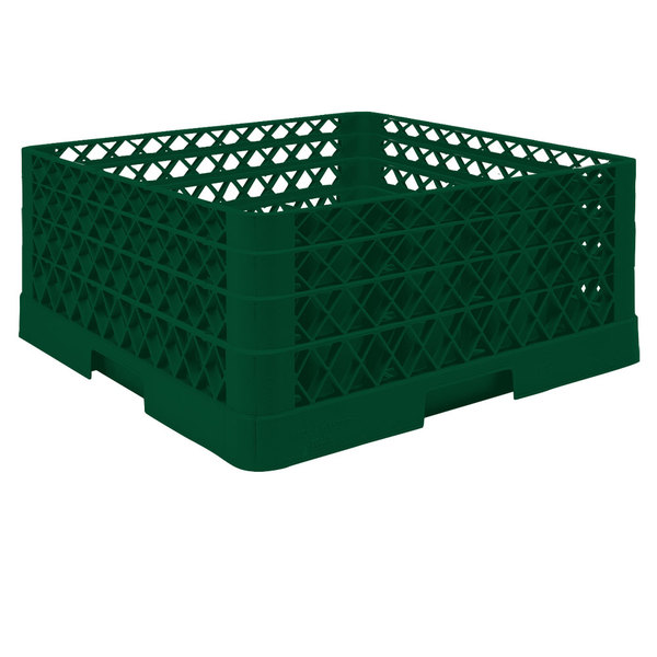 "Vollrath TR6BBA Traex® Full-Size Green 25-Compartment 7 7/8"" Glass Rack with Open Rack Extender On Top"