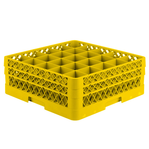 """Vollrath TR6BB Traex® Full-Size Yellow 25-Compartment 6 3/8"""" Glass Rack Main Image 1"""
