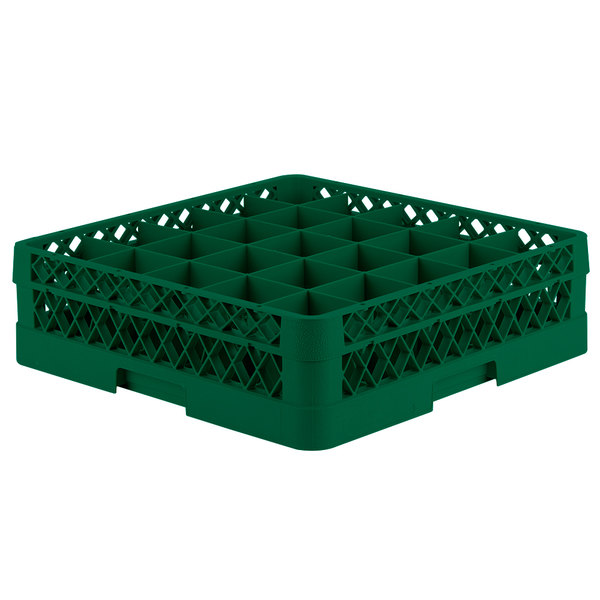"Vollrath TR6B Traex® Full-Size Green 25-Compartment 4 13/16"" Glass Rack"
