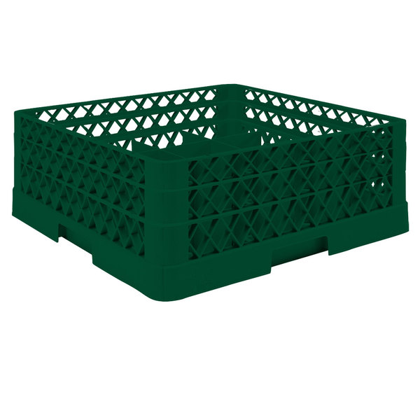 "Vollrath TR6BA Traex® Full-Size Green 25-Compartment 6 3/8"" Glass Rack with Open Rack Extender On Top"