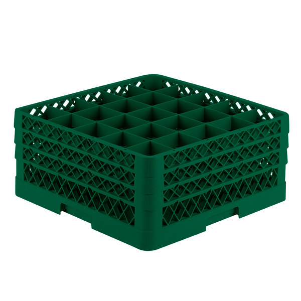 """Vollrath TR6BBB Traex® Full-Size Green 25-Compartment 7 7/8"""" Glass Rack"""