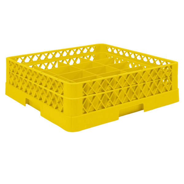"Vollrath TR6A Traex® Full-Size Yellow 25-Compartment 4 13/16"" Glass Rack with Open Rack Extender On Top"