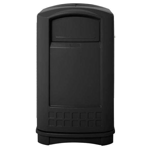 Rubbermaid FG396400BLA Plaza Black Container with Side Opening 50 Gallon