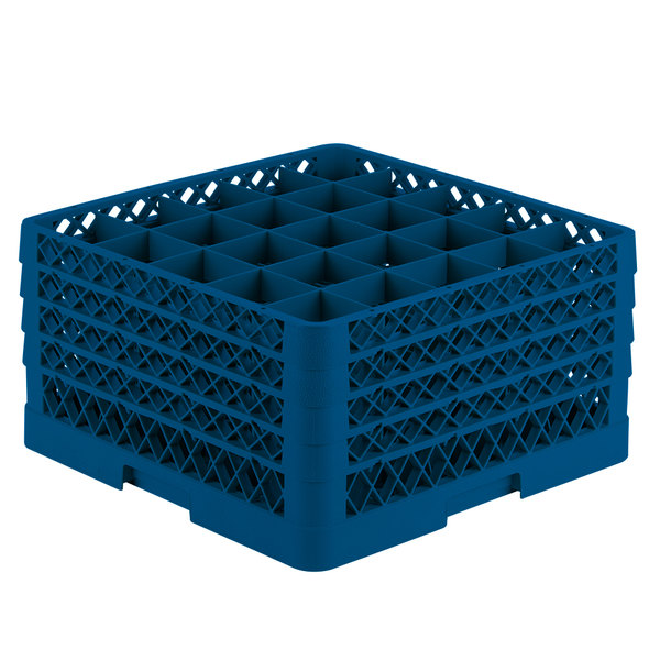 """Vollrath TR6BBBB Traex® Full-Size Royal Blue 25-Compartment 9 7/16"""" Glass Rack"""