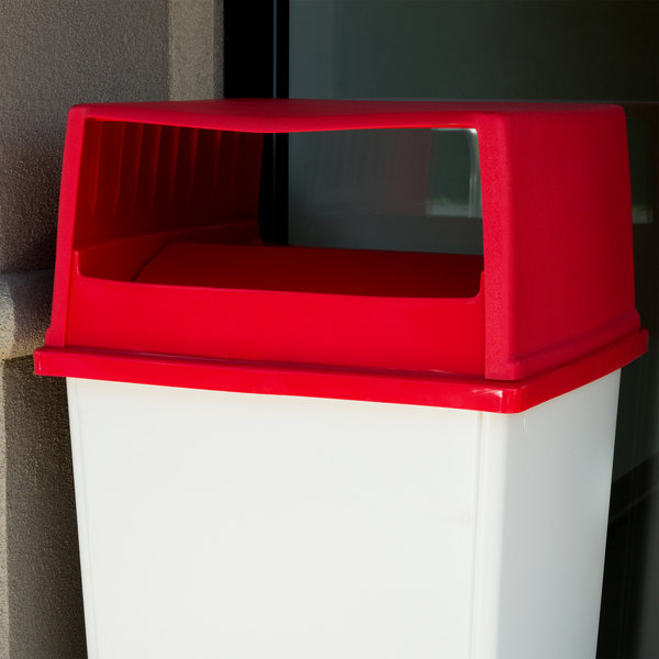 Rubbermaid FG256X00RED Glutton Red Round Hooded Top Lid With Swing Doors for FG256B00 Container Main Image 3