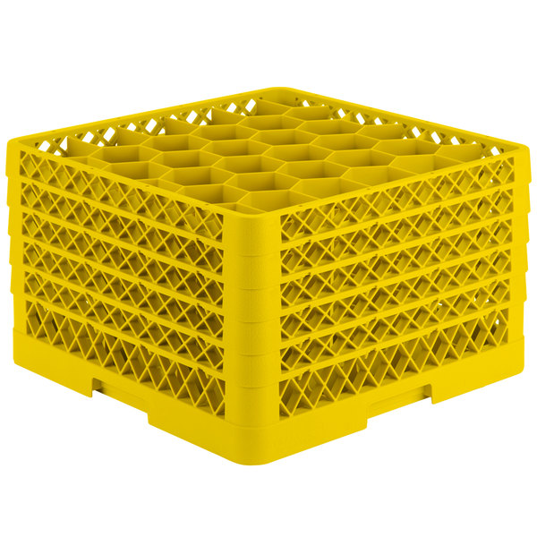 """Vollrath TR12HHHHA Traex® Rack Max Full-Size Yellow 30-Compartment 11 7/8"""" Glass Rack with Open Rack Extender On Top Main Image 1"""