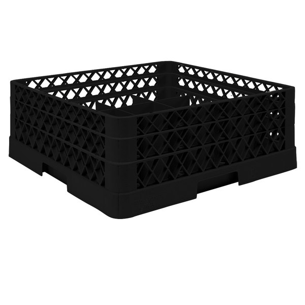 """Vollrath TR6BA Traex® Full-Size Black 25-Compartment 6 3/8"""" Glass Rack with Open Rack Extender On Top Main Image 1"""