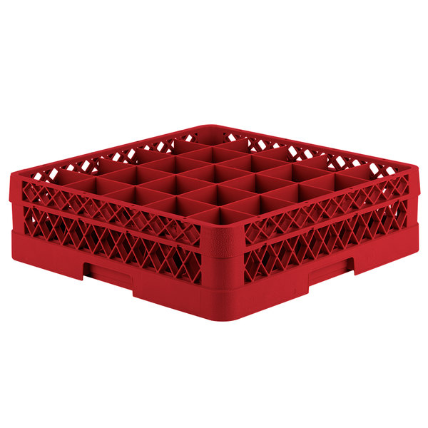 """Vollrath TR6B Traex® Full-Size Red 25-Compartment 4 13/16"""" Glass Rack"""