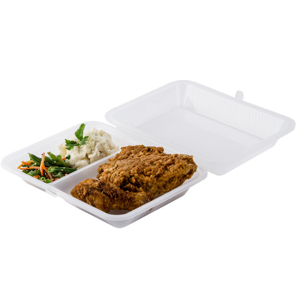 "GET EC-15 10"" x 8"" x 3"" Clear Customizable 2-Compartment Reusable Eco-Takeouts Container - 12/Case Main Image 4"