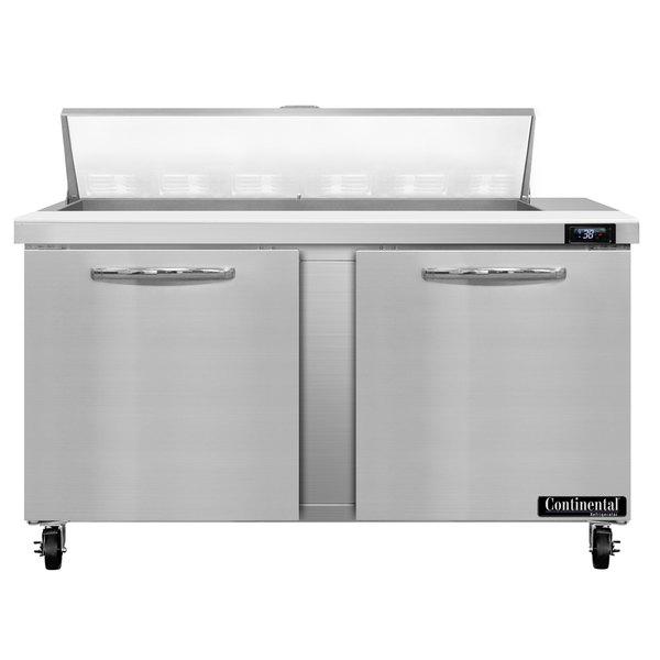 "Continental Refrigerator SW60-12 60"" 2 Door Refrigerated Sandwich Prep Table"