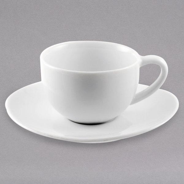 10 Strawberry Street RVL0428 Royal Oval 4 oz. White Porcelain Demi Cup / Saucer - 24/Case