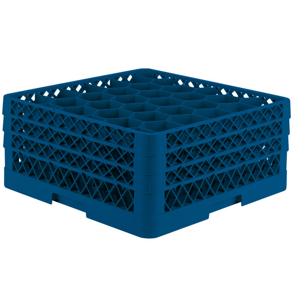 """Vollrath TR12HHH Traex® Rack Max Full-Size Royal Blue 30-Compartment 7 7/8"""" Glass Rack"""