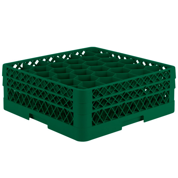 "Vollrath TR12HA Traex® Rack Max Full-Size Green 30-Compartment 6 3/8"" Glass Rack with Open Rack Extender On Top Main Image 1"