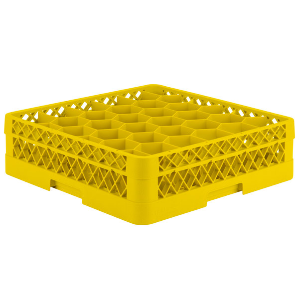 "Vollrath TR12A Traex® Rack Max Full-Size Yellow 30-Compartment 4 13/16"" Glass Rack with Open Rack Extender On Top"