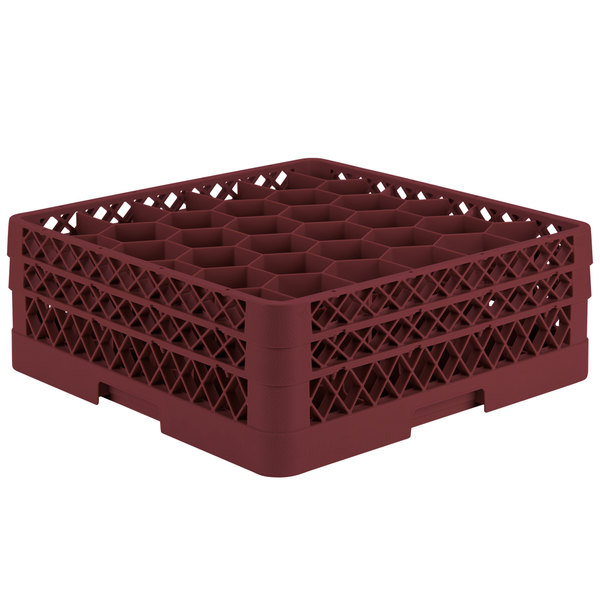 """Vollrath TR12HA Traex® Rack Max Full-Size Burgundy 30-Compartment 6 3/8"""" Glass Rack with Open Rack Extender On Top"""