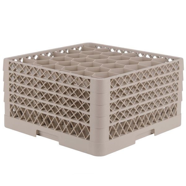 "Vollrath TR12HHHH Traex® Rack Max Full-Size Beige 30-Compartment 9 7/16"" Glass Rack"