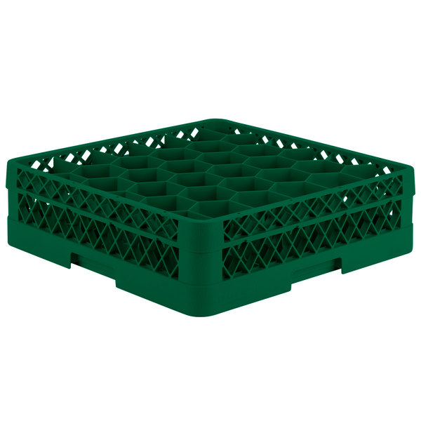 "Vollrath TR12A Traex® Rack Max Full-Size Green 30-Compartment 4 13/16"" Glass Rack with Open Rack Extender On Top Main Image 1"