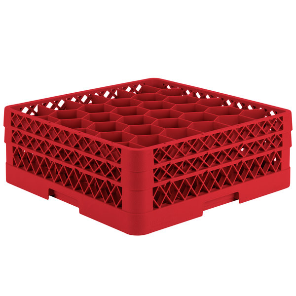 "Vollrath TR12HA Traex® Rack Max Full-Size Red 30-Compartment 6 3/8"" Glass Rack with Open Rack Extender On Top"